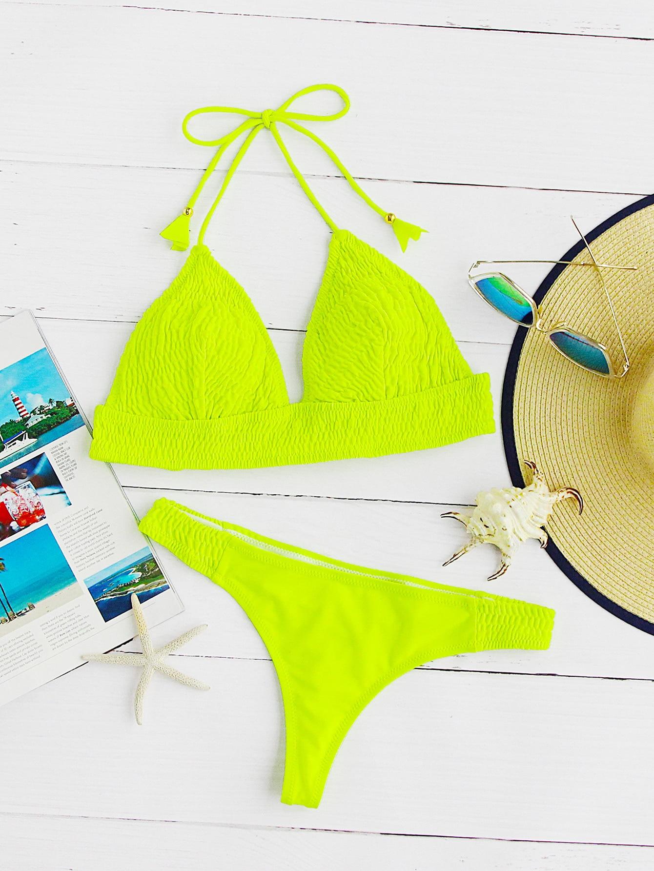 Neon Yellow Crinkle Design Triangle Bikini SetFor Women-romwe