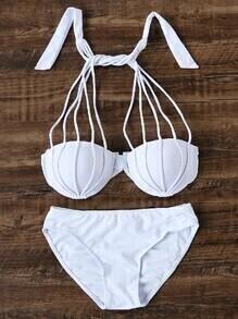 Set bikini de halter con tiras - blanco