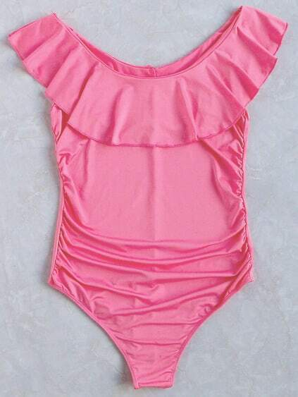 Pink Ruffle Detail One-Piece Swimwear