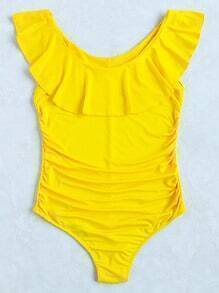 Yellow Ruffle Detail One-Piece Swimwear