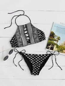 Black Tribal Print Criss Cross Bikini Set