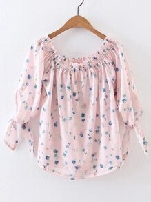 Pink Floral Boat Neck Tie Cuff Blouse