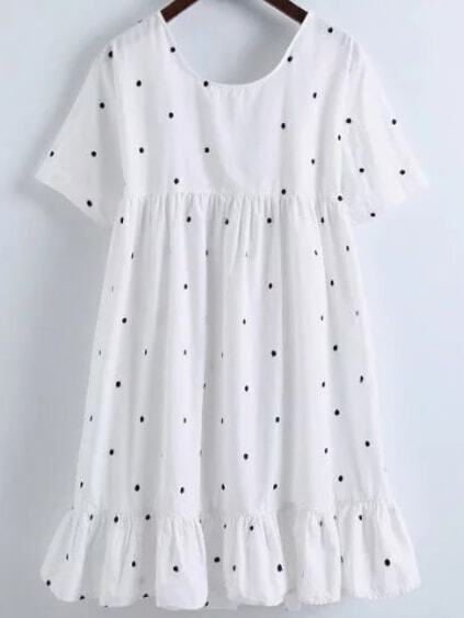 White Polka Dot Embroidery Knot Back Ruffle Hem Dress