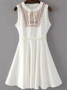 White Tribal Print Tie Neck Sleeveless Dress With Zipper