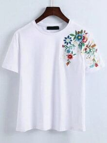 White Flower Embroidery T-Shirt