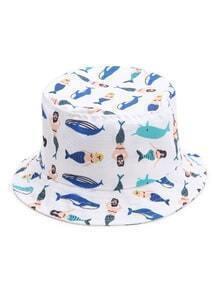 Sombrero con ala ancha con estampado - blanco