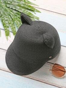 Black Cat Ear Design Straw Baseball Cap