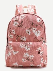 Pink Flower Print Canvas Backpack
