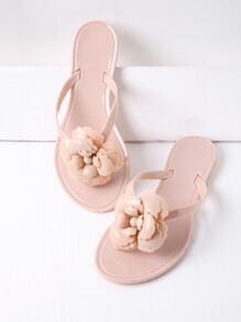 Sandalias planas con diseño de flor con tira en el dedo - rosa