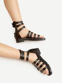 Black Buckle Detail Zipper Back Flat Sandals