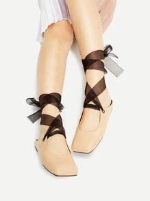 Bailarinas con cordones - albaricoque