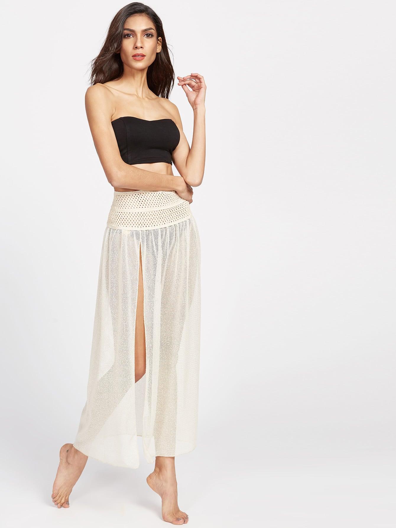 Beige Eyelet Lace High Slit Two Way Wear Skirt