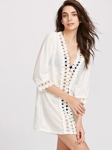 Blanc Hollow Out Crochet Cover Up robe