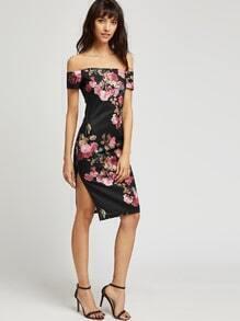 Vestido entallado floral con hombro al aire - negro