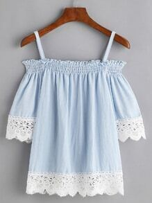 Blue Contrast Lace Trim Cold Schulter Shirred Bluse