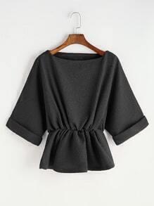 Blusa de mangas raglán con cintura elástica - negro