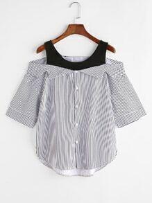 Blusa asimétrica de rayas con hombros descubiertos 2 en 1