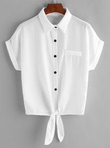 Blusa de chifón con cordón en la parte delantera con bolsillo en el pecho - blanco