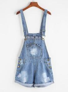 Blue Turn Up Hem Washed Denim Romper