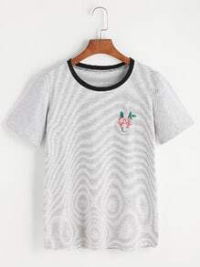 Camiseta de rayas con bordado de rosa - gris