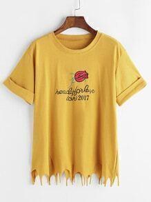 Camiseta deshilachadas con estampado de flor