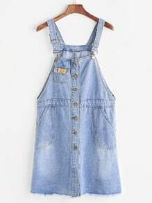 Blue Single Breasted Pockets Pinafore Denim Dress
