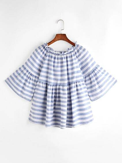 Striped Boat Neck Ruffle Trim Bell Sleeve Top