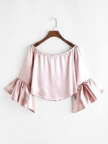Pink Boat Neck Bell Sleeve Crop Top