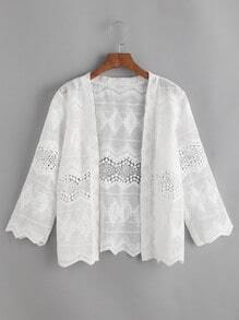 White Crochet Lace Hollow Out Chevron Hem Top