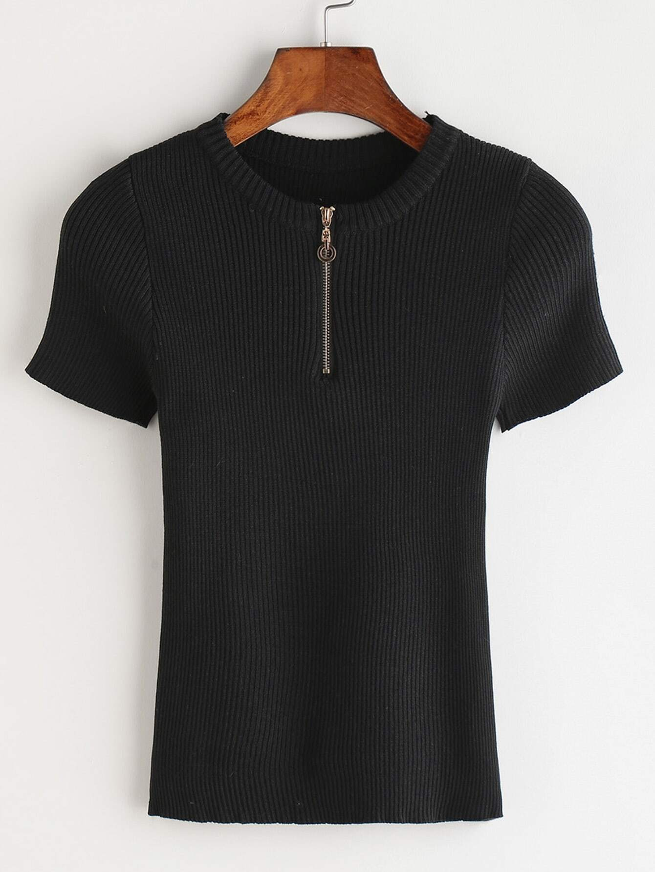 Black Zipper Front Ribbed Knitted T-shirt RTSH170323103