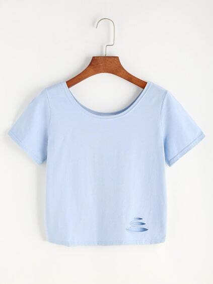 Blue Ripped Crop T-shirt