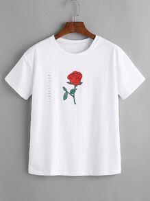 Camiseta con rotura con estampado de rosa - blanco