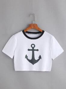 Camiseta corta con estampado de ancla y ribete en contraste - blanco