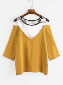 Camiseta de rayas con hombros abiertos - amarillo