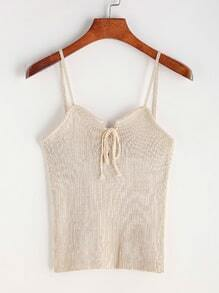Apricot Lace Up Front Ribbed Knitted Cami Top
