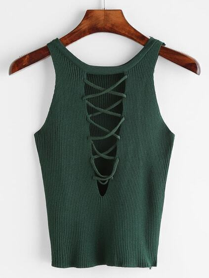 Green Lace Up Back Ribbed Knitted Tank Top