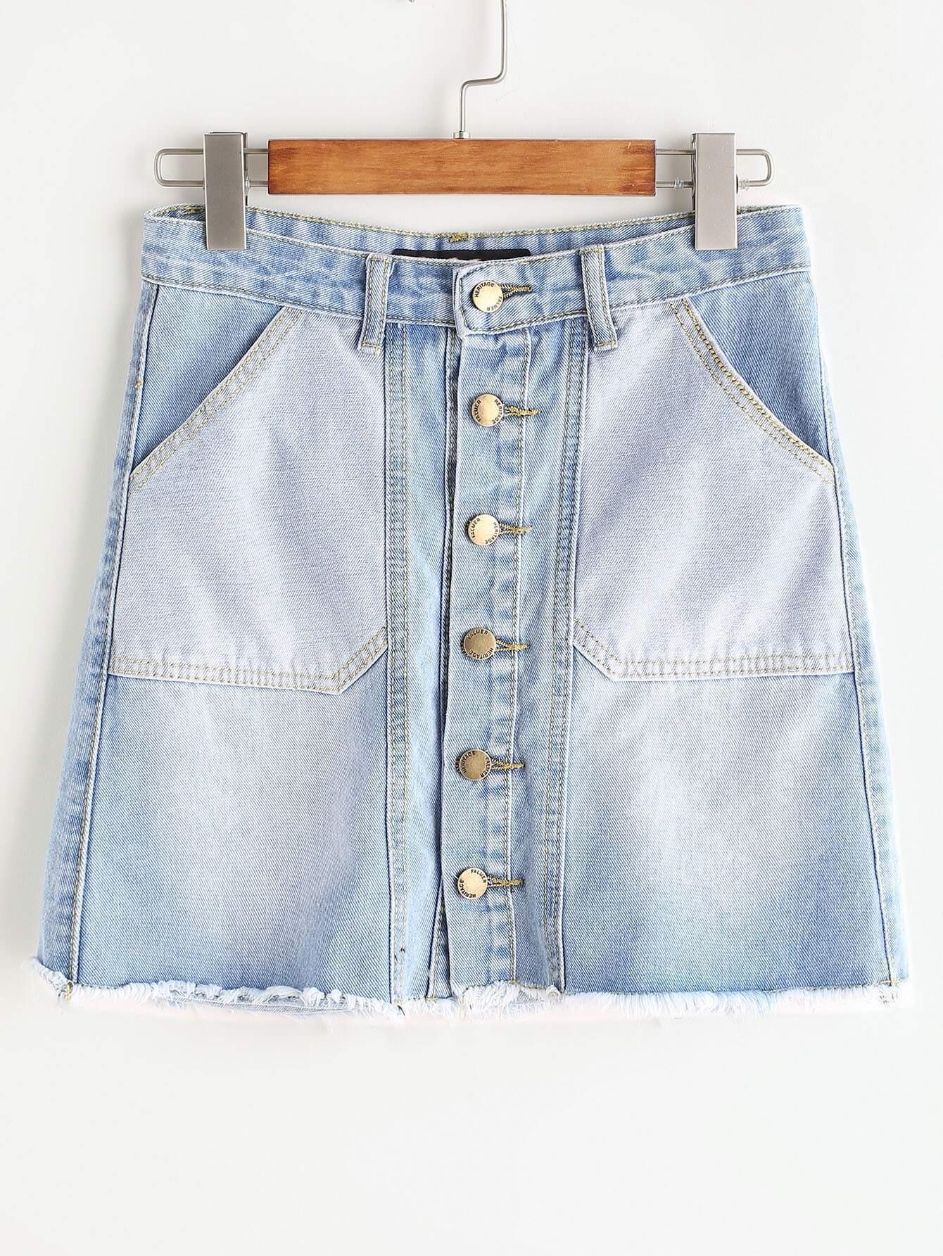 Blue Single Breasted Raw Hem Denim Skirt