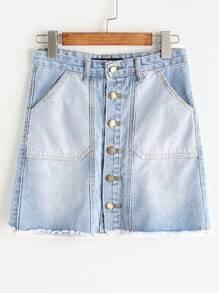 Falda con una botonadura en denim - azul