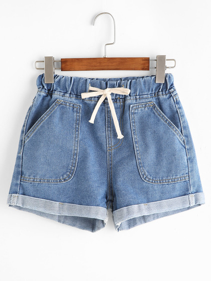 Blue Drawstring Rolled Hem Denim Shorts