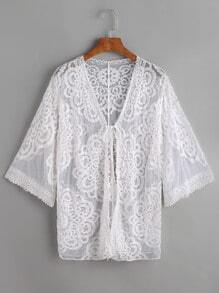 White Embroidered Mesh Beach Cover Up