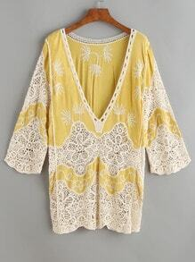 Yellow V Neck Embroidered Eyelet Crochet Lace Cover Up