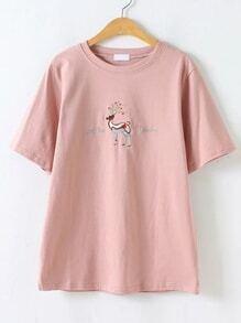 Camiseta con bordado de animal - rosa