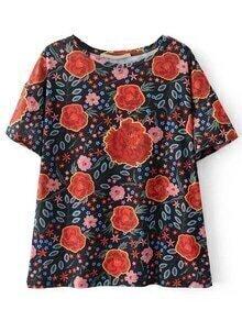 Camiseta floral de mangas cortas - multicolor