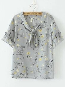 Grey Floral Tie Neck Chiffon Blouse With Pearl
