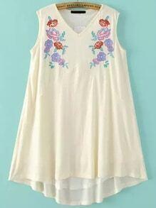 Vestido con bordado de flor sin mangas - blanco