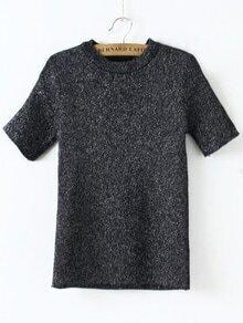Suéter con cuello redondo de mangas cortas - negro