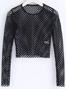 Black Hollow Out Crop Top