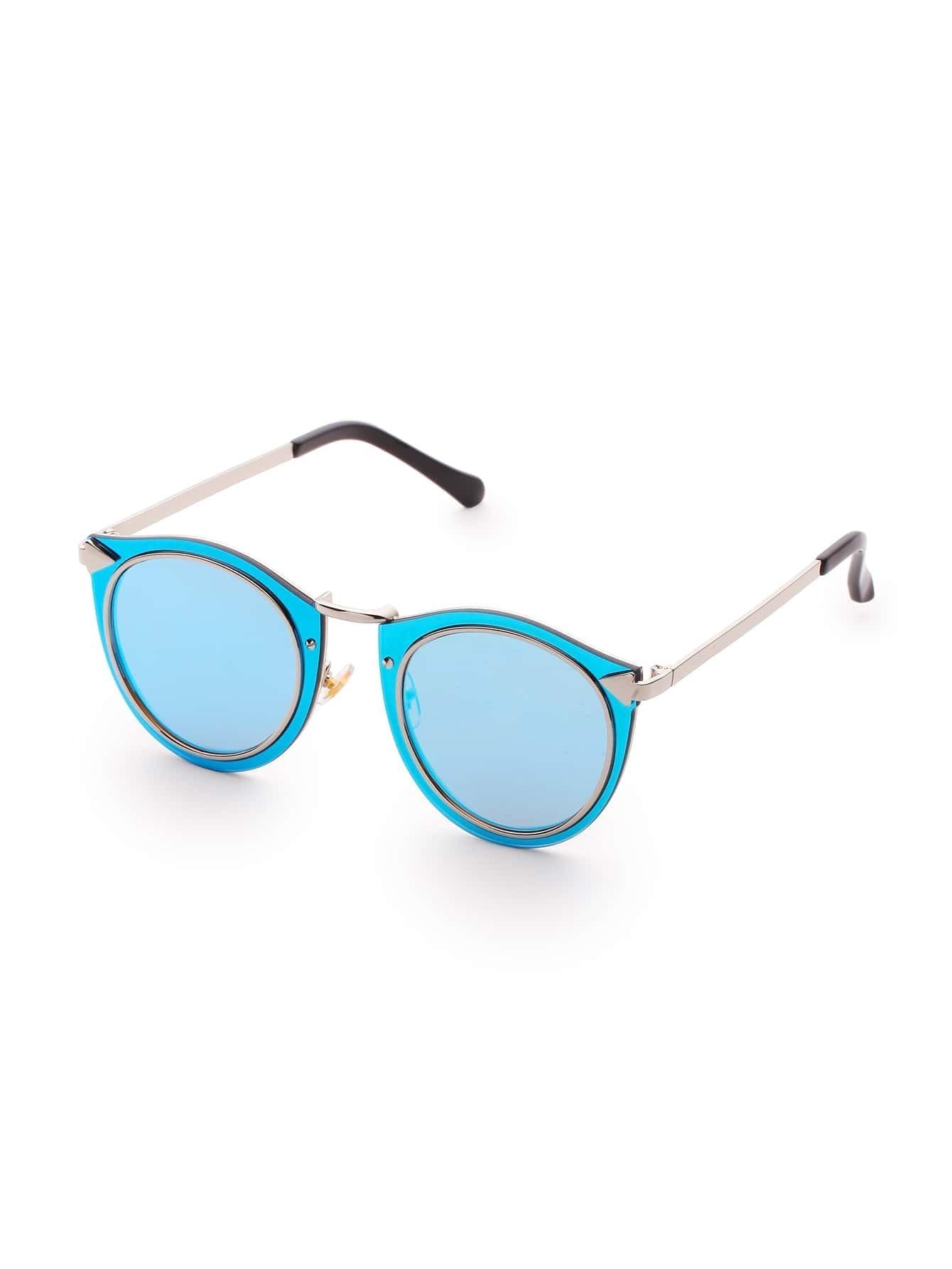 Double Frame Blue Lens Sunglasses sunglass170323304