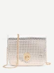 Bolso con cadena con cierre giratorio con textura de diamante - dorado