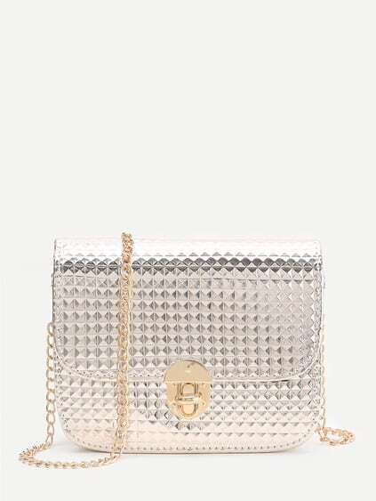 Gold Diamond Textured Twist Lock Chain Bag